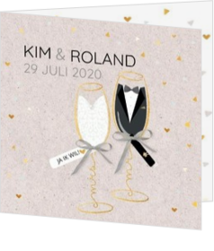 - kaart Mr & Mrs in een champagneglas 127005