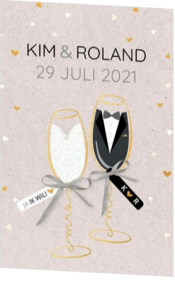 - kaart Mr & Mrs in een champagneglas 127007